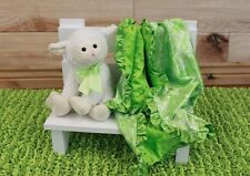 NEW minky Nursery Baby receiving Blanket Satin Ruffle lime green boy paysley 30""