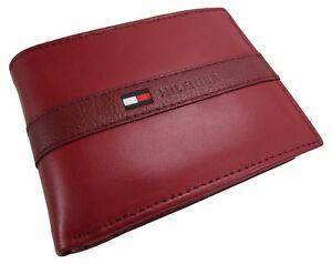 New Tommy Hilfiger Men's Ranger Leather Passcase Bifold Billfold Wallet - Red