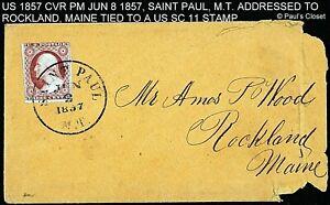 1857 COVER PM JUN 8 1857 w/ SC 11A 3¢ WASHINGTON SAINT PAUL, MT DIAL CNX, F/V