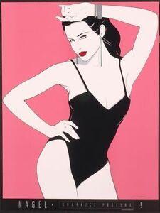 Patrick Nagel BLACK TEDDY Rare Lithograph Fine Art - Sexy Swimsuit Out of Print