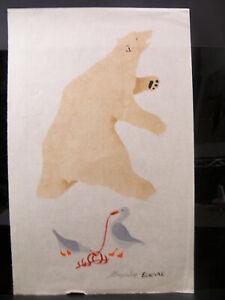 Canada Inuit Eskimo Stone Cut Print Polar Bear by Eloknak Mabel Nigiyok