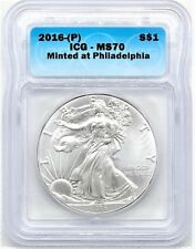 2016-(P) SILVER EAGLE MS70 STRUCK AT PHILADELPHIA ICG VERY RARE IN MS70
