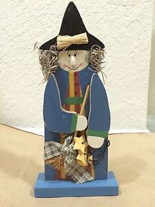 """☀️ WITCH with Broom BLUE Dress Halloween 8.5"""" Wooden Home Decor Country Table"""