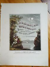 Lot of 4 1850's Hand Colored Sheet Music Rainbows Moons & Pretty Girls