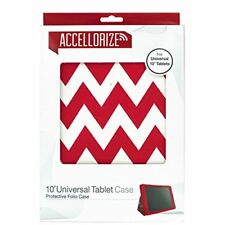 """10"""" Universal Tablet Slim Fit Lightweight Folio Stand Cover - Red Chevron"""