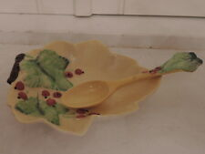 Vintage Carlton Ware Yellow Leaf Dish & Berries with Matching Spoon