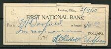 US FIRST NATIONAL BANK OF LINDSAY, OKLAHOMA CANCELLED CHECK 3/19/1910