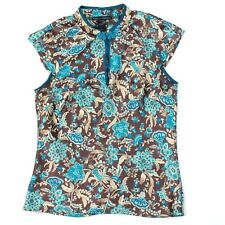 Passion Mandrin Blouse Women Size 5 Juniors Brown Top Satin Oriental Cap Sleeve