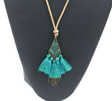 Brown Cord Bohemian Boho Bronze Tie Up Tribal Aztec Tassel Necklace Green Aqua