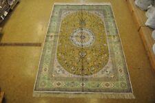 Silk Oriental Handmade 6x9 Carved Tabriz Handmade Silk Carpet Carpet