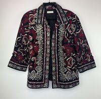 Coldwater Creek Women's Plus Size 20 Black Paisley 3/4 Sleeve Open Jacket EUC