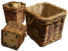 CHUNKY SQUARE LOG BASKETS WITH ROPE DETAIL ON WHEELS HESSIAN REMOVABLE LINERS
