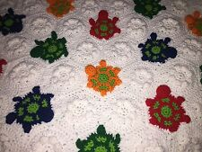"BEAUTIFUL Crocheted Blanket w/Colorful Turtles Ruffles Afghan 43""x60"" RARE"