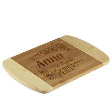 la tabla de cortar bambú BICOLOR incl. Grabado motivo Vintage para desayuno
