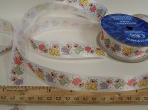 """3 yds Colorful Baby Teddy Bear Print Sewing Ribbon Trim 7/8"""" Wide By 108"""" (Debs)"""