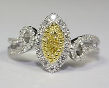 14k White Gold Marquise Canary Diamond And Round White Diamonds Ring Size 6.75