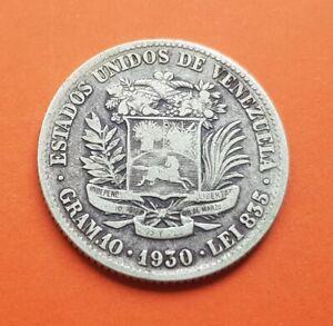 @RARA@ VENEZUELA 2 BOLIVARES 1930 SIMON BOLIVAR KM.23 moneda de PLATA US MINT