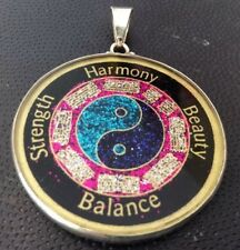 """$72 Bagua Harmony Balance Energy Necklace 1.5/8"""" Tourmaline Sterling Silver Gift"""