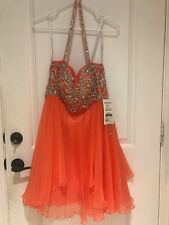 Sherri Hill Coral Color Rhinestone Prom Dance Dress Size 8 $378 New With Tags