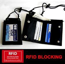 Black Leather ID CARD Holder Neck Travel Work Pouch Press Wallet Strap RFID SAFE