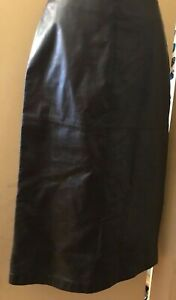 Ann Taylor, dark chocolate color ,lined leather skirt, midi,Size S NWOT