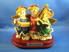 """3 Very Pretty Little Angels On A Base """"Blessed Light"""" 5"""" Tall"""