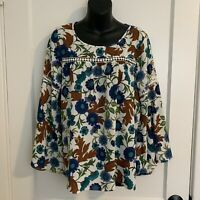 New Directions Womens Size Small Blouse Flare Sleeve Floral Boho