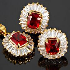 Xmas Red Ruby Emerald Cut Necklace Pendant Earrings Gemstone 18K Gp Jewelry Set