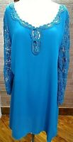 Umgee Lace Tunic Long Sleeve Women's With Keyhole Neckline Med Nwt Turquiose