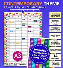 Personalised Family Calendar Organiser Planner Choose 2 3 4 5 Columns / People