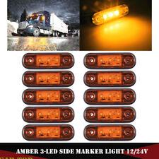 10X Amber 3 LED Side Marker Clearance Lights 12V-24V for Truck Trailer Lorry RV