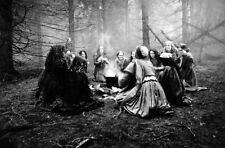 Salem Witch Coven in Woods Witchcraft Wicca Pagan Vintage Print