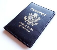 Black Patent Leather USA Passport Cover Travel ID Card Holder