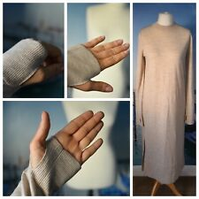 COS thumb sleeved beige woolen dress, size S UK 10 12