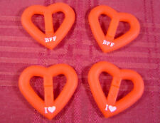 Lot/1000 Crush Bandz I Heart BFF Red Silicone Rubber Bracelet Charms Crafting