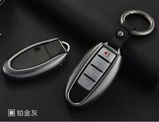 Gray Metal Remote Key Cover FOB Case For Nissan Altima Maxima Infiniti Smart Key