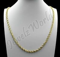 "Real 10K Solid Yellow Gold 4mm Diamond Cut Rope Chain Necklace Bracelet 8"" - 30"""