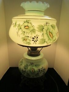 Large Vintage Hurricane GWTW Hand Painted Lamp Green Floral 24""