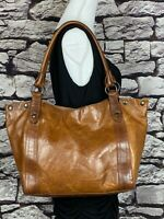 FRYE MELISSA Cognac Brown Leather Shoulder Bag / Travel Tote $398 MSRP