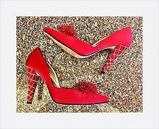 New BEVERLY FELDMAN SHOE Red & Gold ~ Size 7