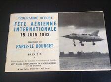 Rare programme Le Bourget 1963 aviation BON ETAT