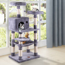 "58"" Pet Kitty Play House Cat Tree Tower Condo Furniture Scratching Post Gray"