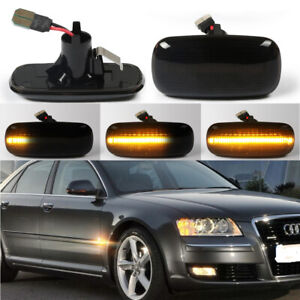 2x Sequential LED Side Marker Blinker Signal Light For Audi A6 A8 A2 A3 A4 TT 8N