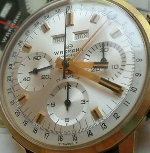 Vintage 1960's Wakmann Triple Date Calendar 17 Jewel Valjoux Chronograph Watch
