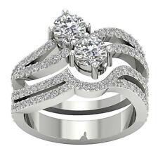 Us Two Stone Round Diamond White Gold Bridal Wedding Ring Si1 G 2.20 Ct Forever