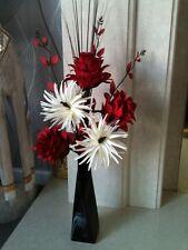 Artificial Silk Flower Arrangement In Red & Cream In Black Vase