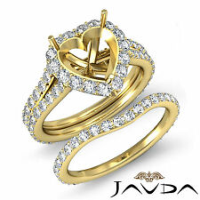 Heart Halo Diamond Semi Mount Engagement Ring Bridal Set 18k Gold Yellow 1.80 ct