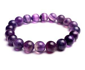 9mm Natural Purple Fluorite Quartz Crystal Gemstone Round Beads Bracelet AA