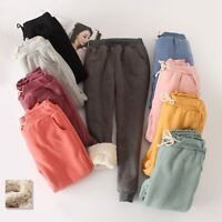 Winter Womens Pants Loose Warm Thicken Casual Trousers Sports Fleece