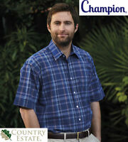MENS SHORT SLEEVE CHAMPION WHITBY CASUAL HUNTING OUTDOOR COTTON HEAVY SHIRT